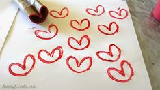 Easiest Valentine's Day craft idea for a younger kid: Make a heart-shaped stamp. To make it more personal for a card or gift, let them add thumbprints in paint. | at Crafty Morning
