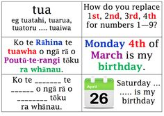 These resources have been gathered as part of our school professional development for 2013 with The Wānanga o Aotearoa. Kia ora to our kaiako Anaru and Tettere for sowing the seeds. School Resources, Teaching Resources, Maori Words, Birthday Charts, Maori Designs, Unusual Words, Teaching Aids, Place Names, Childhood Education