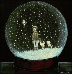 art, hans christian andersen, kay, snowglobe, the snow queen