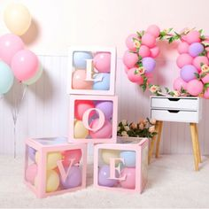 Cube Transparent Box Latex Balloon BABY LOVE Blocks for Boy Girl Baby Shower Wedding Birthday Party Decoration Backdrop (without balloons) - Tattoo Photo Baby Girl Birthday Theme, Baby Girl Shower Themes, Birthday Balloon Decorations, Balloon Birthday, Small Birthday Parties, Cocktail Party Decor, Balloon Box, Transparent Box, Birthday Party Photography