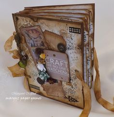 MINI ALBUM WITH GROMMETS AND RIBBON CLOSURE - Meg's Garden: Margaret Mifsud - The Sherlock Book by Watson!