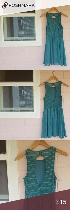 XS LUSH POLKA DOT DRESS XS Lush Teal Dress Gently Used Lush Dresses Mini