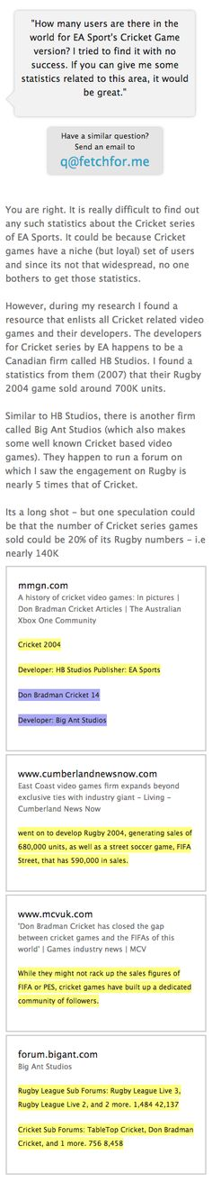 I found a resource that enlists all Cricket related video games and their developers. The developers for Cricket series by EA happens to be a Canadian firm called HB Studios. I found a statistics from them (2007) that their Rugby 2004 game sold around 700K units. Similar to HB Studios, there is another firm called Big Ant Studios (which also makes some well known Cricket based video games). They run a forum on which I saw the engagement on Rugby is nearly 5 times that of Cricket