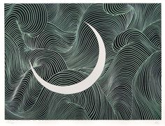 Matazo Kayama--Moon Woodcut