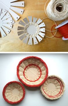 Basket weaving art crafts Ideas for 2019 Family Crafts, Diy Home Crafts, Yarn Crafts, Crafts For Kids, Arts And Crafts, Cardboard Crafts, Basket Crafts, Gift Basket, Rope Basket