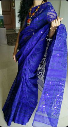 Ink+Blue+Bangladeshi+jamdani+saree