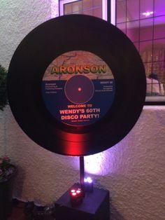 Giant Vinyl Record Cutout Blue Label Stage Ideas