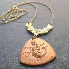 Aquarius Horoscope Zodiac Astrology Mermaid Merman Nautical Necklace