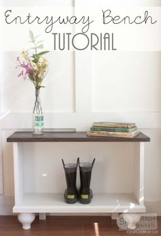 Build this easy entryway bench with storage! Free building plans on Remodelaholic.com #buildit #diy #mudroom