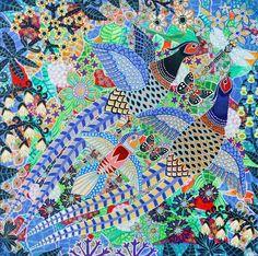 Esben Hanefelt Kristensen - Fasanfejde over gylden godbid 30x30 - Acryl på plade - 2012