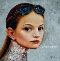"""Sunglasses Girl"" oil on linen 2016 16x16 © Shijun Munns  #painting #Oilpainting  #Art #Portrait #artwork #originalart #artist #homedecor #wallart #gallery #exhibit #create #collection #women #Artist #ShijunArt #ShijunMunns www.shijunart.com Original Paintings, Original Art, Girl With Sunglasses, Human Head, Oil Painters, Fine Art Gallery, Jasmine Tookes, Wall Art, Portrait"