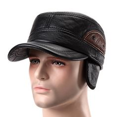 34424dec1aa Cowhide Genuine Leather Baseball Cap Earflap Earmuffs Fleece Linen  Adjustable Military Hat