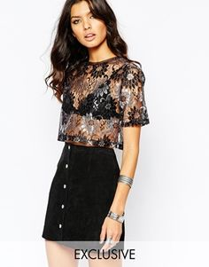 Top by Milk It Sheer lace All-over metallic design Round neckline Cropped length Regular fit - true to size Machine wash Polyester Our model wears a UK S/EU S/US XS Exclusive to ASOS Latest Fashion Clothes, Fashion Online, Kids Fashion, Models, Floral Lace, Style Me, Sequin Skirt, Party Dress, Metallic
