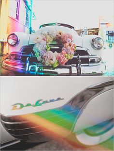 Photo edits for rainbow wedding