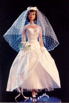 """#1698 """"Beautiful Bride"""" worn by American Girl Barbie, circa 1967, from the collection of Gene Foote."""