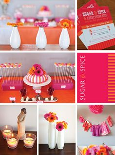 I think this is it! Pink, Orange and a little brown.   Sugar and Spice Baby Shower