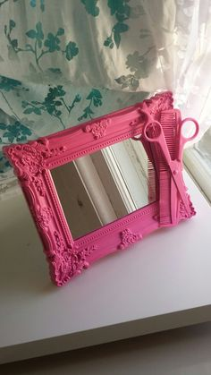Dark pink hairstylist scissors and comb mirror by CheeseCrafty