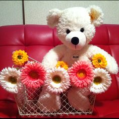 Steiff Bear in flower basket