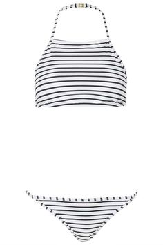 Striped high neck bikini