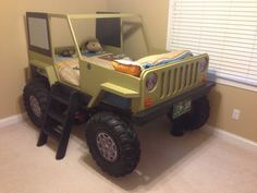 Jeep Bed Plans Twin Size Car Bed by JeepBed on Etsy, $20.00...matching jeep beds for Jeremiah and Olivia...green for Jeremiah and hot pink for Olivia! Love it!