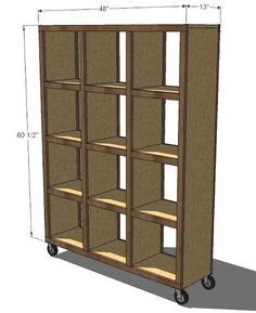 Rolling Room Divider Cubbies, plan by Ana White.  #DIY #furniture #Ana #White #rolling #room #divider