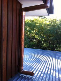 Copper Downpipe, Feature Cedar Shiplap Cladding.