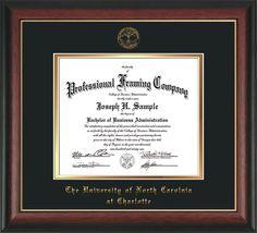 Diploma Frame - Rose Gold Lip - w/UNCC seal Black/Gold – Professional Framing Company