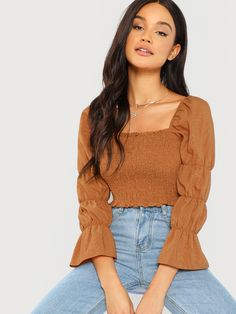 online shopping for Floerns Women's Elastic Square Neck Puff Sleeve Shirred Crop Top from top store. See new offer for Floerns Women's Elastic Square Neck Puff Sleeve Shirred Crop Top Cropped Tops, Romwe, Crop Tops Online, Spring Shirts, Brown Fashion, Crop Shirt, Piece Of Clothing, Types Of Sleeves, Sleeve Types