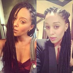 @TiaDMowry #TiaDMowry Tia Mowry's Box Braids • Singles • Extensions • Protective Style • Box Braids Ponytail • Keri Hilson's Box Braids