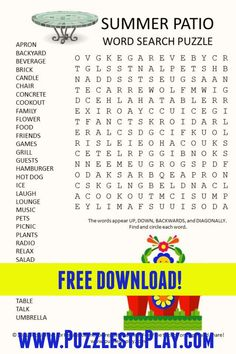 Summer Patio Word search It is a free download, printable puzzle to play Printable Puzzles, Crossword Puzzles, Free Word Search Puzzles, Puzzle Games, Classroom Games, Word Games, Free Printable Coloring Pages, Fun Things, Kid Stuff