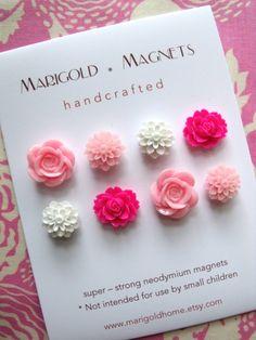 summer flowers, strong neodymium magnets, set of 8, pink flowers, roses, graduation, hostess gift, gardener, magnetic bulletin board
