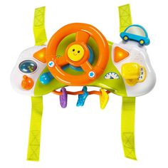 Baby's first set of wheels may be attached to a stroller, but he can still rule the road with this fun Babies'R'Us My First Driver Stroller Toy! Featuring a steering wheel, gear shift, ignition key and plenty of buttons and knobs for interactive play, it attaches to the front of your little one's stroller to entertain him on the go. Realistic driving noises, music and lights are sure to delight and engage his imagination. <br><br> The Babies R Us My First Driver Stroller Toy…