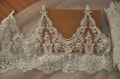 Ivory Alencon Lace Trim for Bridal Veils Bridal by lacetime