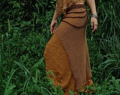 ON SALE Fire and Sand earthy long skirt Made of Hemp cotton with embroidery Fairy Pixie Hippie Made by AnuttaraCrafts Cotton Scarf, Cotton Pants, Tribal Women, Unique Gifts For Her, Brown Skirts, Native Style, Native American Fashion, Aztec, Pants For Women