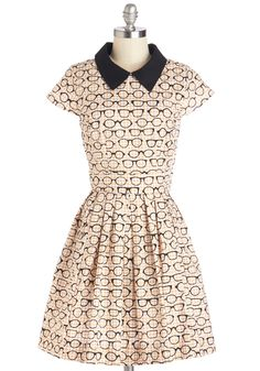 Clear as Day Off Dress - Cotton, Mid-length, Multi, Novelty Print, Casual, A-line, Short Sleeves, Better, Collared, Tan / Cream, Black, White, Houndstooth, Pockets, Exclusives, Top Rated, Scholastic/Collegiate, Full-Size Run
