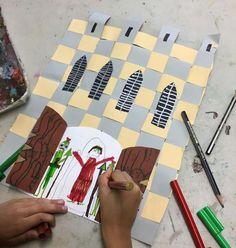 Year 2 Woven Castles #weaving #paper #artteacher #anotherartteacher #castle #education