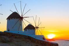 "The ""Kato Mili"" #windmills standing tall at #sunset"