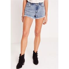 Missguided Sinner High Waisted Distressed Denim Shorts (£22) ❤ liked on Polyvore featuring shorts, distressed high waisted shorts, high waisted shorts, high-waisted jean shorts, destroyed denim shorts and high rise jean shorts