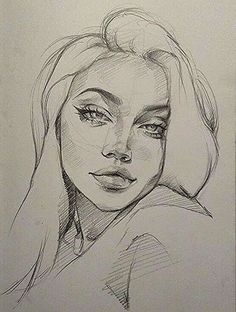 Girl Drawing Sketches, Portrait Sketches, Art Drawings Sketches Simple, Pencil Art Drawings, Realistic Drawings, Sketch Girl Face, Girl Eyes Drawing, Pencil Sketches Of Faces, Drawings With Meaning