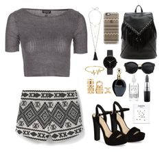 """""""Black and white summer outfit"""" by emmeleialouca on Polyvore featuring Topshop, MANGO, Mishky, Jessica Simpson, Sole Society, Casetify, I Love Ugly, Bling Jewelry, Forever 21 and Roberto Cavalli"""