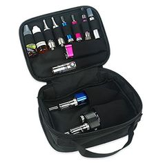 Dampfer Tasche mit TragegriffDie praktische Aufbewahrungstasche für E-Zigaretten mit praktischen Gummizügen damit Sie Batterien, Akkuträger, Verdampfer, Ladegerä
