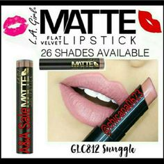 SNUGGLE FLAT VELVET MATTE LIPSTICK The hottest new lip color - Matte Flat Velvet Lipstick. These 26 bold shades are rich in pigment and filled with moisture in a flat velvet finish. With added shea butter to hydrate lips and a soft, smooth application, your lips will feel as gorgeous as they look! The pack of 3 $21.00 (Can choose different colors) LA GIRL  Makeup Lipstick
