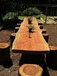 long wooden tables with stumps chairs - Google Search