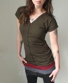 tunic dress/V-neck/short sleeved/Dark Olive with Burgundy, Cement grey, and Black by joclothing on Etsy https://www.etsy.com/ca/listing/291932755/tunic-dressv-neckshort-sleeveddark-olive