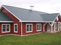 red siding house photos   Standard Metal Shake Hartford Green with Steel Siding Classic Red