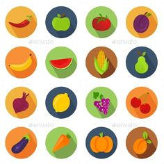Vegetables and Fruit Circle Icons — Photoshop PSD #food #carrots • Available here → https://graphicriver.net/item/vegetables-and-fruit-circle-icons/10916600?ref=pxcr