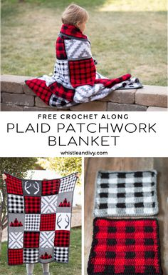 #Crochet Plaid Patchwork Blanket - This cute and cozy blanket crochet pattern includes 5 different square patterns to make your completed lap blanket. #crochet #whistleandivy #crochetpattern #freecrochetpattern #crochetplaid #crochetbuffaloplaid #crochetplaidblanket #crochetafghan #crochetplaidafghan #ad