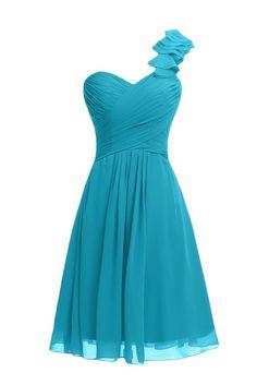 Blue One Shoulder Pleated Short Bridesmaid Dress DVW0131 ...