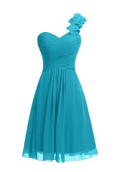 Gorgeous Bridal Chiffon One Shoulder Short Bridesmaid Dresses Evening Dresses- US Size 2 Turquoise