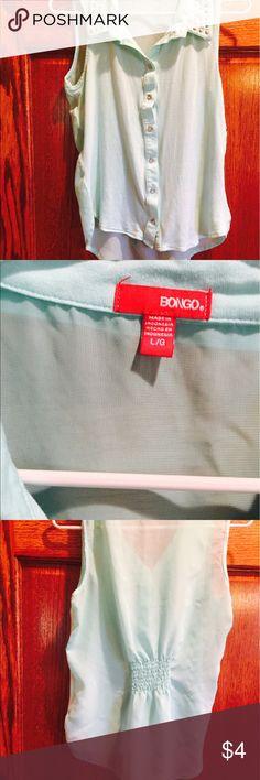 Studded summer sleeveless Comfy never worn but tags off studded collar summer sleeveless pale almost mint green BONGO Tops Blouses
